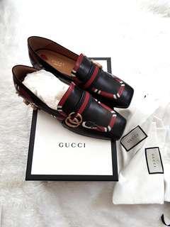 NEW Gucci Yoko Snake Studded Loafers