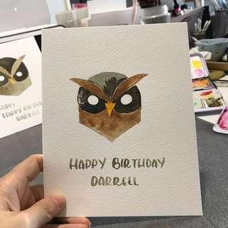 Hand drawn Watercolour animal cards