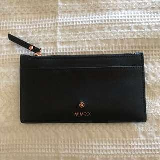 Mimco Slim Leather Wallet Rose Gold Hardware