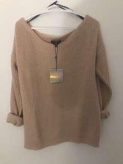 BNWT Missguided nude/beige dcoop neck knit sweater