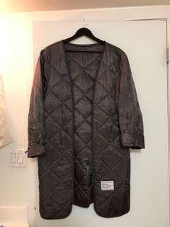 Vintage Hipster Army Surplus Oversized Grey Metallic Diamond Quilted Jacket