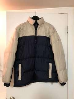 Men's size large cream & navy puffa winter down jacket coat zip-up vintage retro hipster
