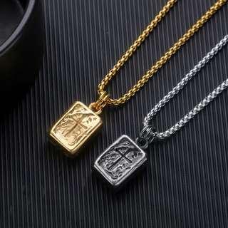🚚 預購「虔誠信仰刻紋十字架鈦鋼項鍊」
