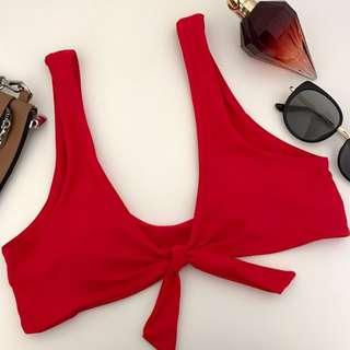Front Knot Bikini Top in Red