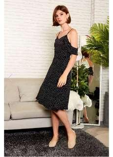 TSW Etoile Polka Dot Cold Shoulder Dress in black