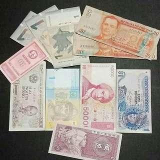 Paket uang asing 11 lembar