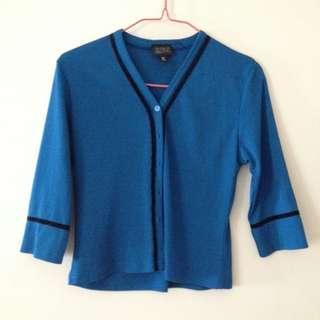 Blue 3/4 sleeve cardigan