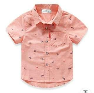 🚚 Korean-style peach-coloured/pink short-sleeved shirt with car prints
