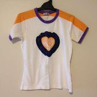 """Yellow white Purple Heart top shirt """"love dream"""""""