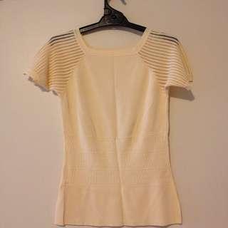 Yellow mesh short sleeve square neck slim top