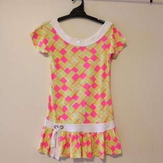 Neon yellow and pink ruffle rop