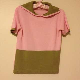 Pink and brown knit top