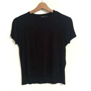 Bershka Ribbed Tshirt (Black)