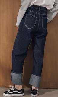 🚚 牛仔寬褲(僅試穿)