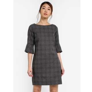 Dorothy Perkins Check Zip Shift Dress In Gray