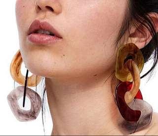 Resin Cadena Style Earrings
