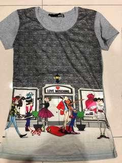 New : Love Moschino Ladies T-Shirt Gray  (size L fits from M)