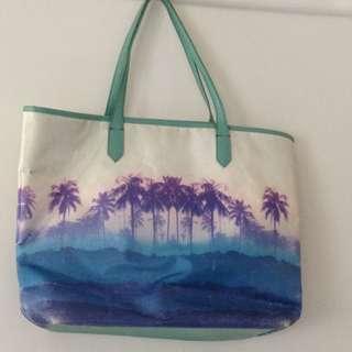 Iconic palms purple blue green tote bag