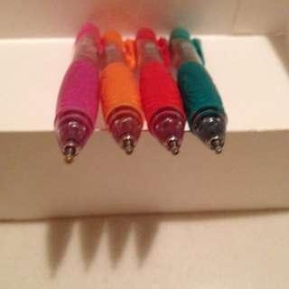 Green, orange, red, pink ink pens