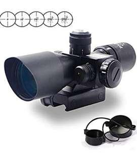1🔥2.5-10x40 Tactical Rifle Scope Red & Green Sight Dual Illuminated Mil-dot with Rail Mount