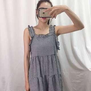🚚 24小時快速出貨🚚 現貨一件‼️棉麻格紋長版洋裝