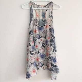 FOREVER NEW Floral Racerback Swing Top With Dipped Sides