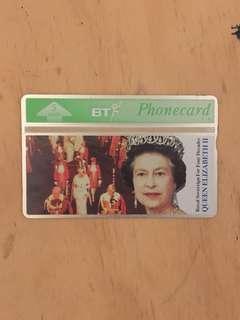 British Telecom home Card Queen's Coronation 40yrs, Circa 1993