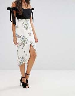 River Island Floral Wrap Skirt