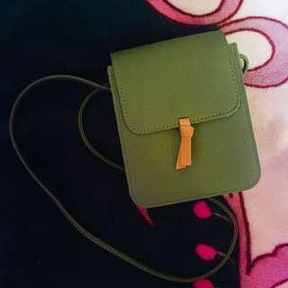 Avocado green sling bag