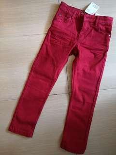 New in Tag H&M Boy Red Stretchy Denim Jeans 4-5Y 110cm #NEW99