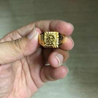 Men Gentleman Adjustable Vietnam Gold Plated Ring - Huat 发 & Hock 福 & 一帆风顺