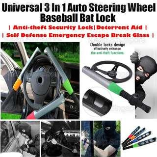 Promo![Kibot]Universal 3 In 1 Auto Steering Wheel Baseball Bat Lock/Anti-theft Security Lock Deterrent Aid Self Defense Emergency Escape Break Glass/Heavy Duty Dual Locking Mechanism/Prevent Prying Fits All Steering Wheel