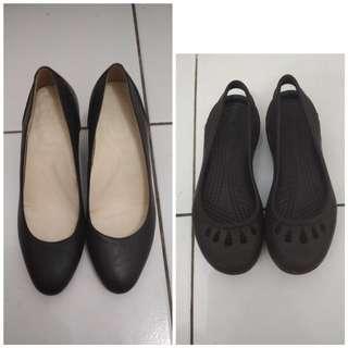 Sepatu hush puppies dan sandal crocs