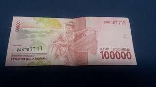 Uang 100 rb nomor seri cantik