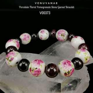 🚚 Porcelain Floral Pomegranate Stone Garnet Bracelet - Garnet (9.5mm bead) & Porcelain (12mm bead)- Garnet helps to detoxify blood & regulate blood circulation. It is an excellent stone to cleanse & balance root Chakra.