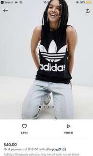 Adidas originals adicolor big trefoil tank top in black