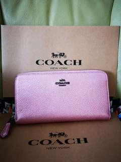 Coach 23554 Accordion Zip Wallet Metallic