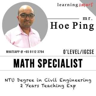 NTU Math home tuition O level ,IGCSE secondary