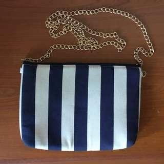 Blue and white stripe handbag/clutch TO BLESS