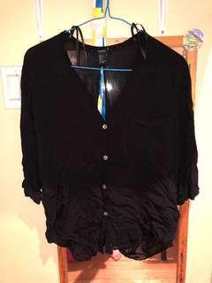 OPEN BACK BLACK BLOUSE