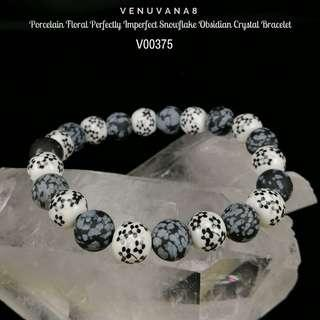 🚚 Porcelain Floral Perfectly Imperfect Snowflake Obsidian Crystal Bracelet - In life we always look for Perfection, but deep inside our Heart, we know nothing is Perfect, human nature is Perfectly Imperfect. We can only learn from our imperfection.