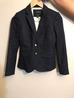J crew wool school boy navy blazer size 00