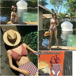 2 pcs vintage high waist bikini