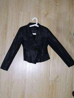 black leather-like jacket