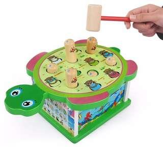 Non-Electric Wooden Hit Hamster With Turtle Whack A Mole For Kids Children