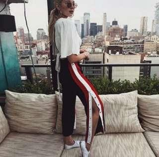 🚚 bnwt ulzzang snap button down tri color pants