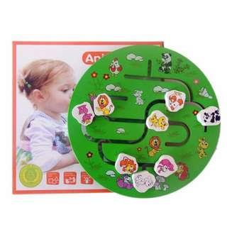 Wooden Toy Animal Finding Matching Game Children Kids Baby Early Teach