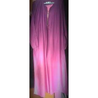 Gradient Ombré jubah Long Dress