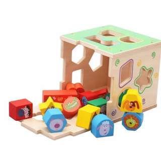 Children Kids Toy Wooden Puzzles Animals Box Shape Paired Match Building Blocks
