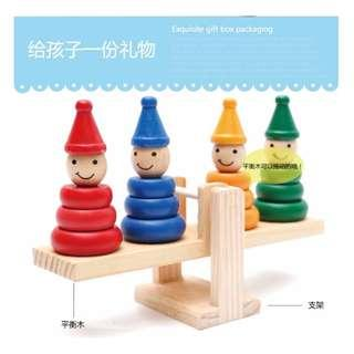 Wooden Clown Balance Chessboard Weighing Balance Knowledge Game